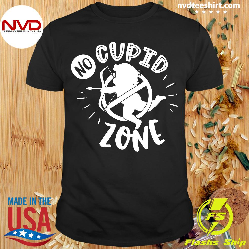 Official Anti Valentines Day No Cupid Zone T-shirt