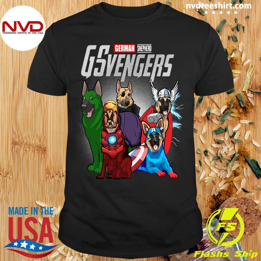 Official Marvel Avengers German Shepherd GSvengers T-shirt