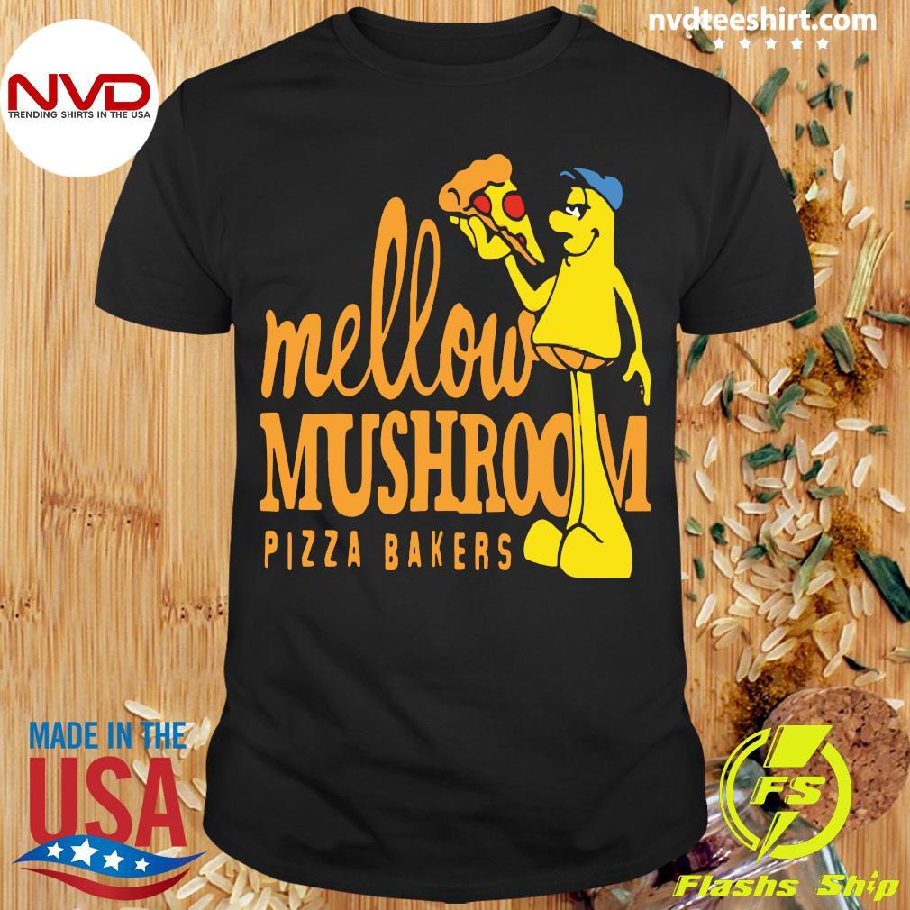 Official Mellow Climbing Merchandise Mushroom Pizza Bakers T-shirt