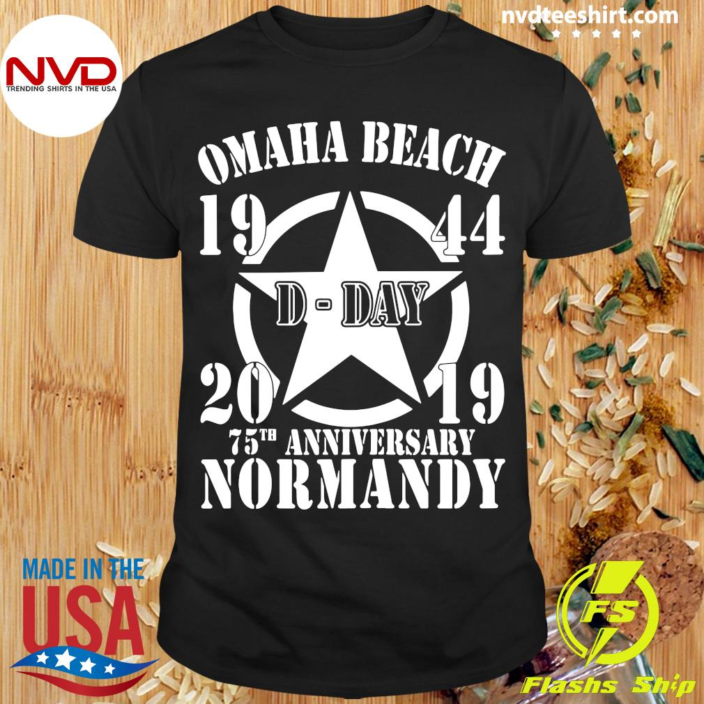 Official Omaha Beach D-Day 1944-2019 Star 75th Anniversary Normandy T-shirt
