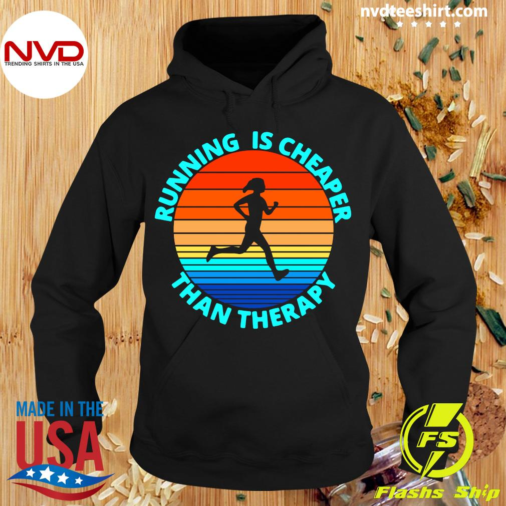 Official Running Is Cheaper Than Therapy Vintage Retro T-s Hoodie