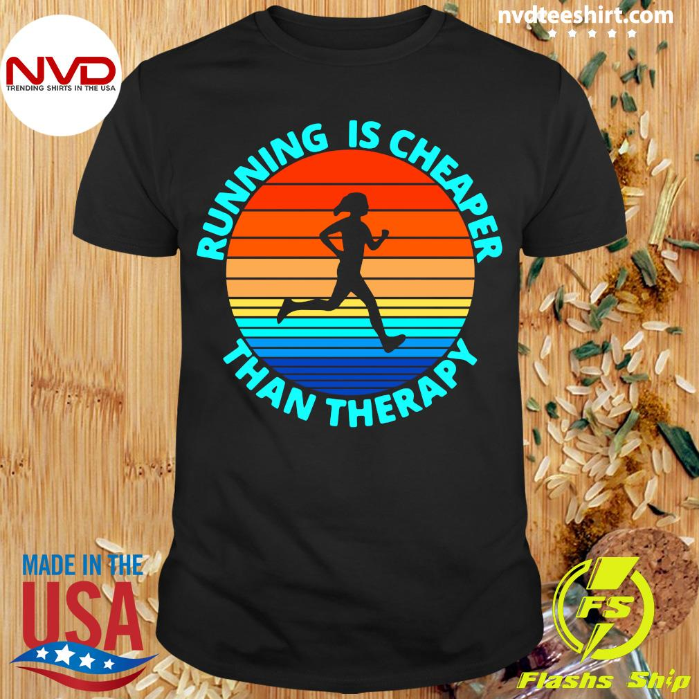 Official Running Is Cheaper Than Therapy Vintage Retro T-shirt