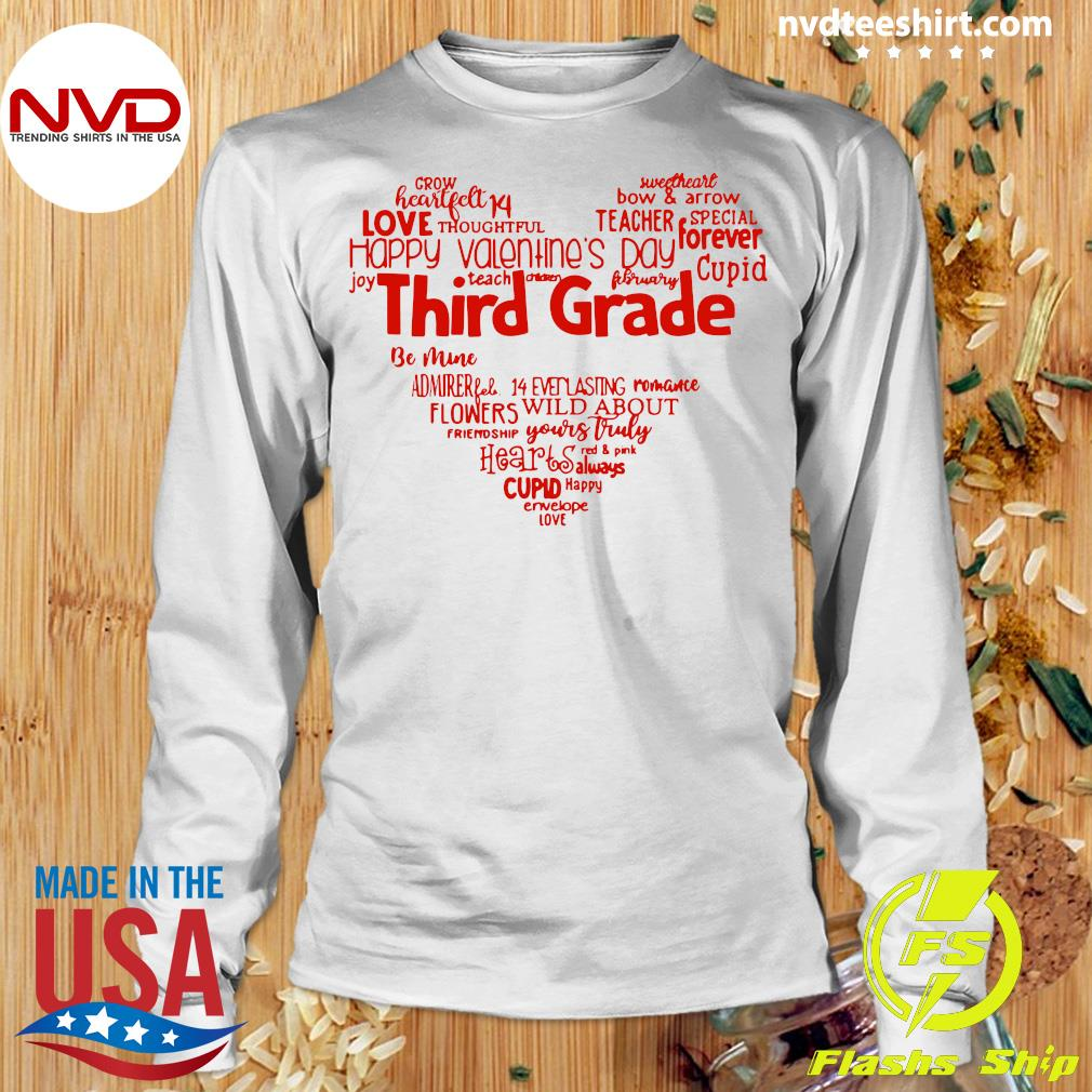 Official Valentine Heart Teacher Name Grade Personalized Raglan T-s Longsleeve