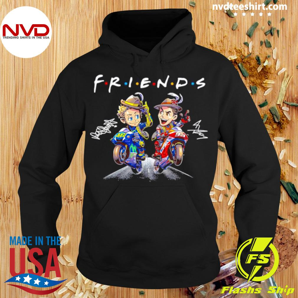 Official Valentino Rossi And Marc Marquez Anime Signatures Friends T-s Hoodie