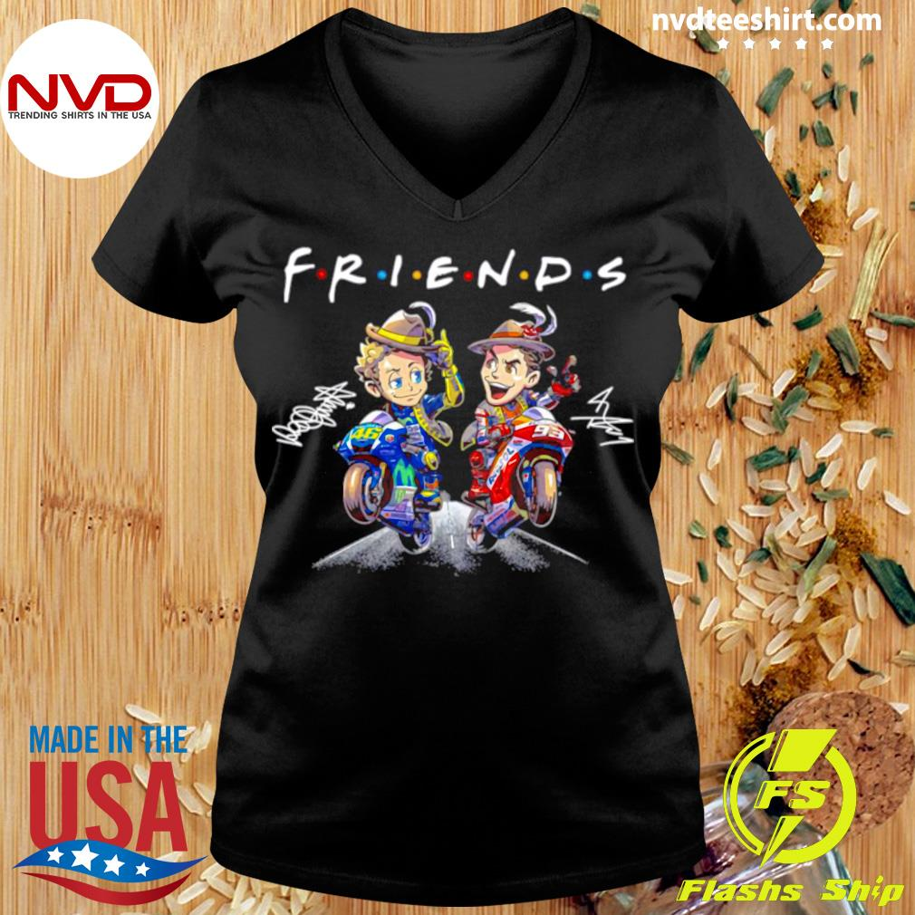 Official Valentino Rossi And Marc Marquez Anime Signatures Friends T-s Ladies tee