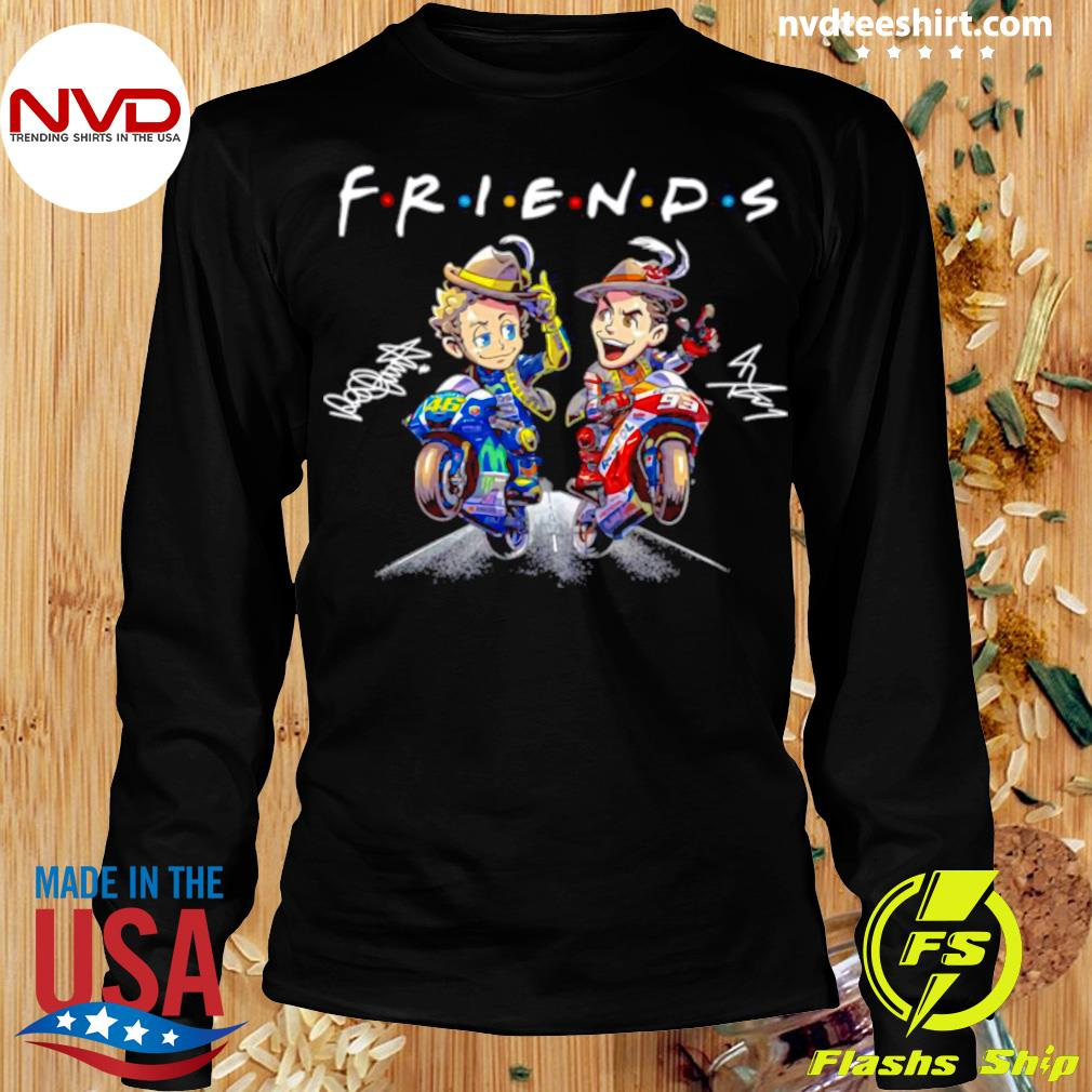 Official Valentino Rossi And Marc Marquez Anime Signatures Friends T-s Longsleeve