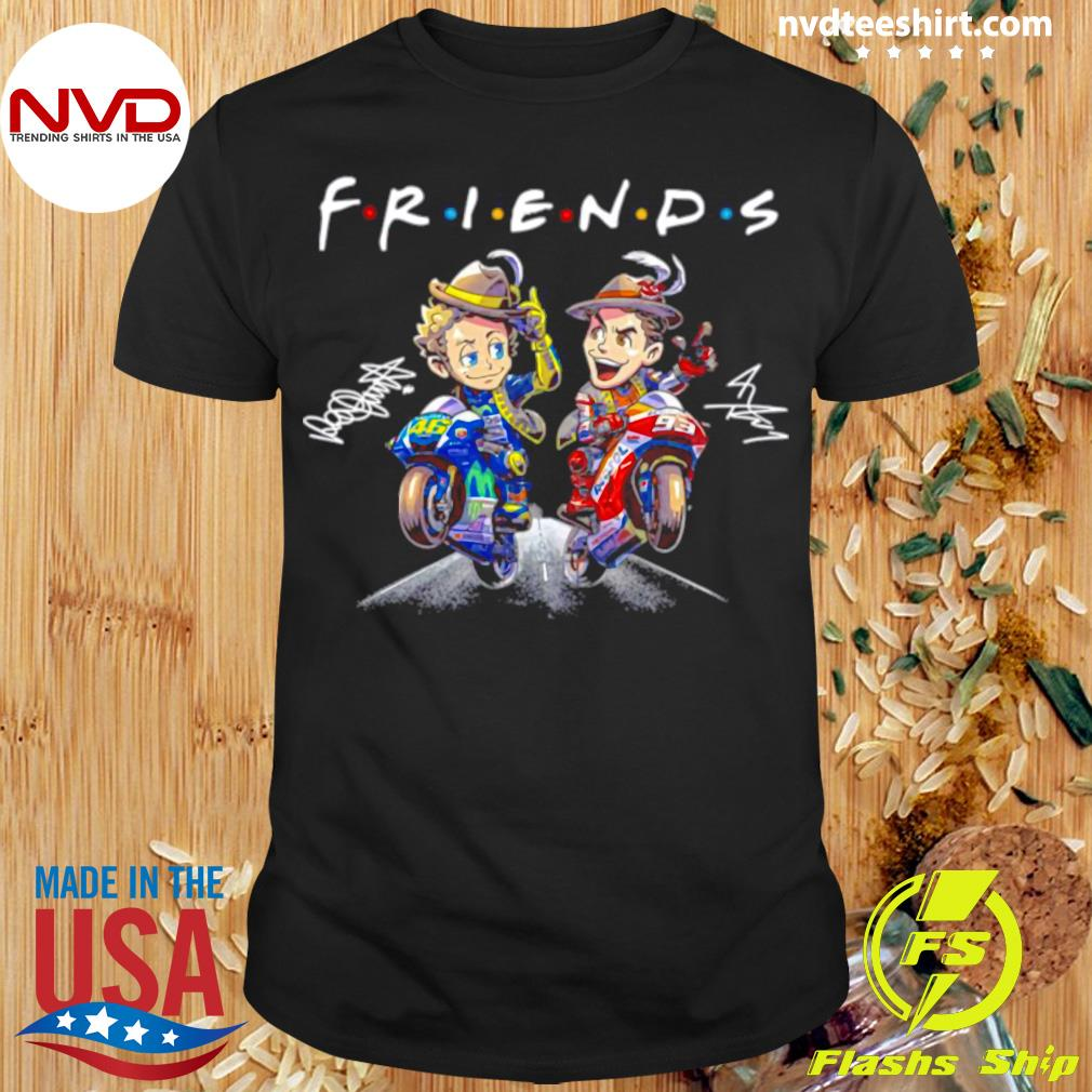 Official Valentino Rossi And Marc Marquez Anime Signatures Friends T-shirt