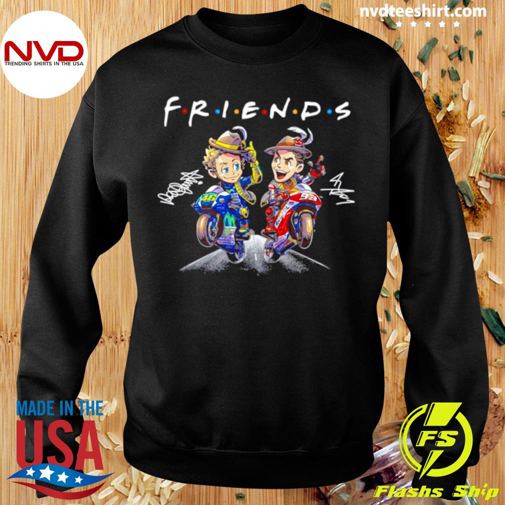 Official Valentino Rossi And Marc Marquez Anime Signatures Friends T-s Sweater
