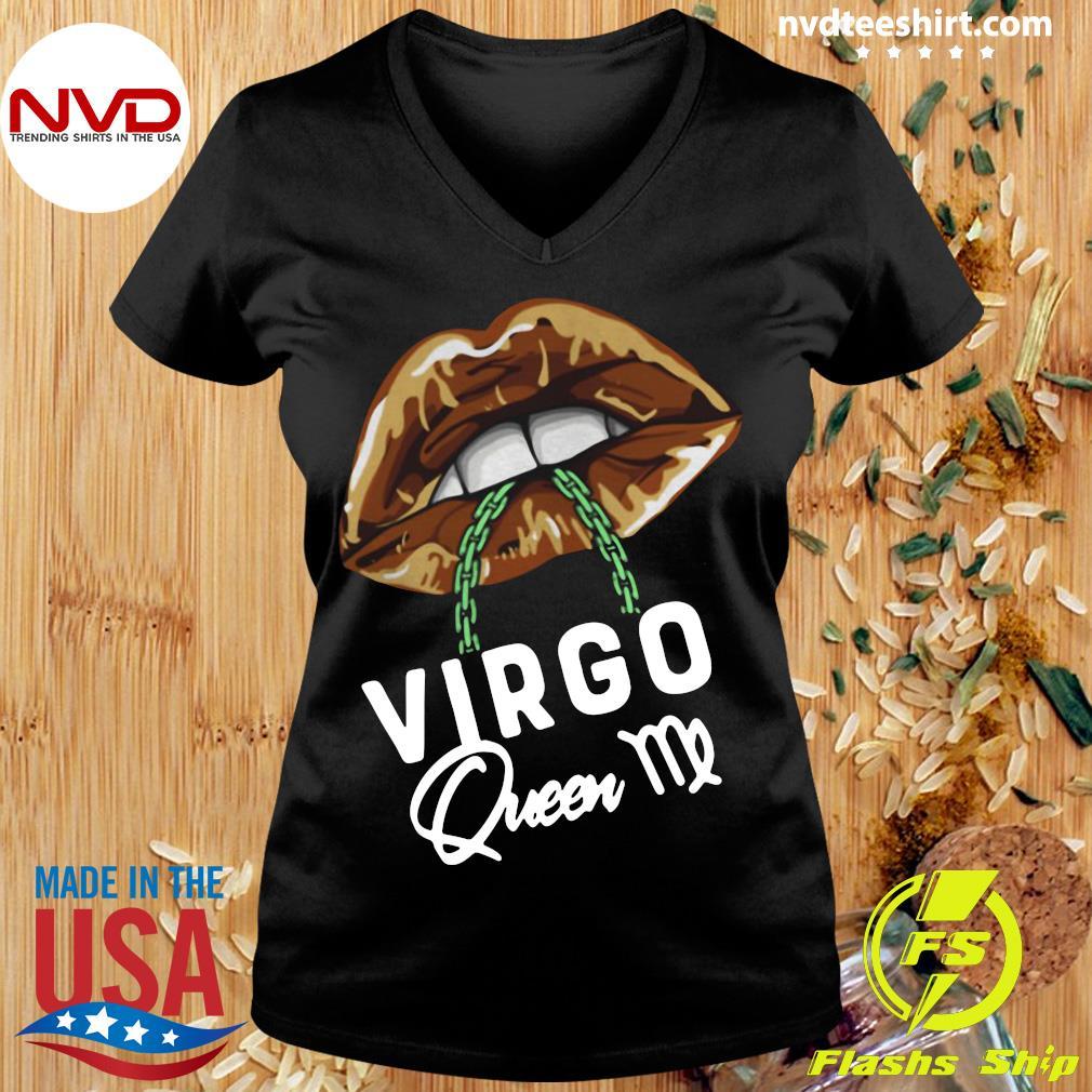 Official Virgo Queen Lips Sexy Black Afro Queen September T-s Ladies tee