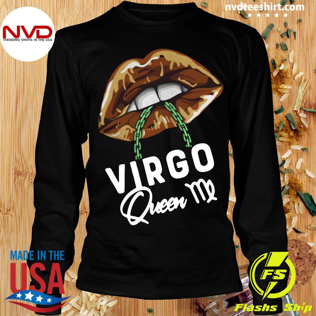Official Virgo Queen Lips Sexy Black Afro Queen September T-s Longsleeve
