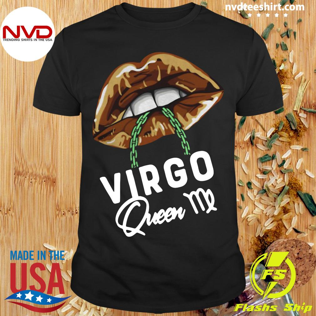 Official Virgo Queen Lips Sexy Black Afro Queen September T-shirt