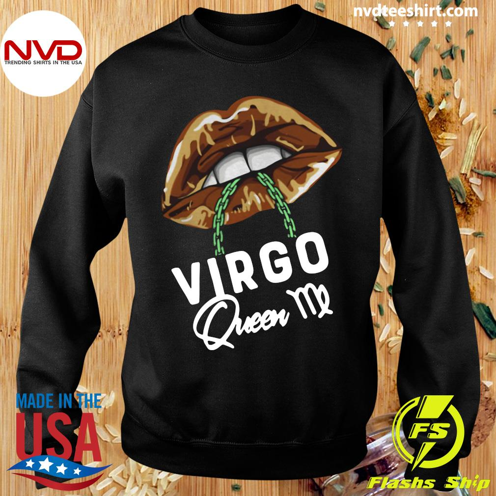 Official Virgo Queen Lips Sexy Black Afro Queen September T-s Sweater
