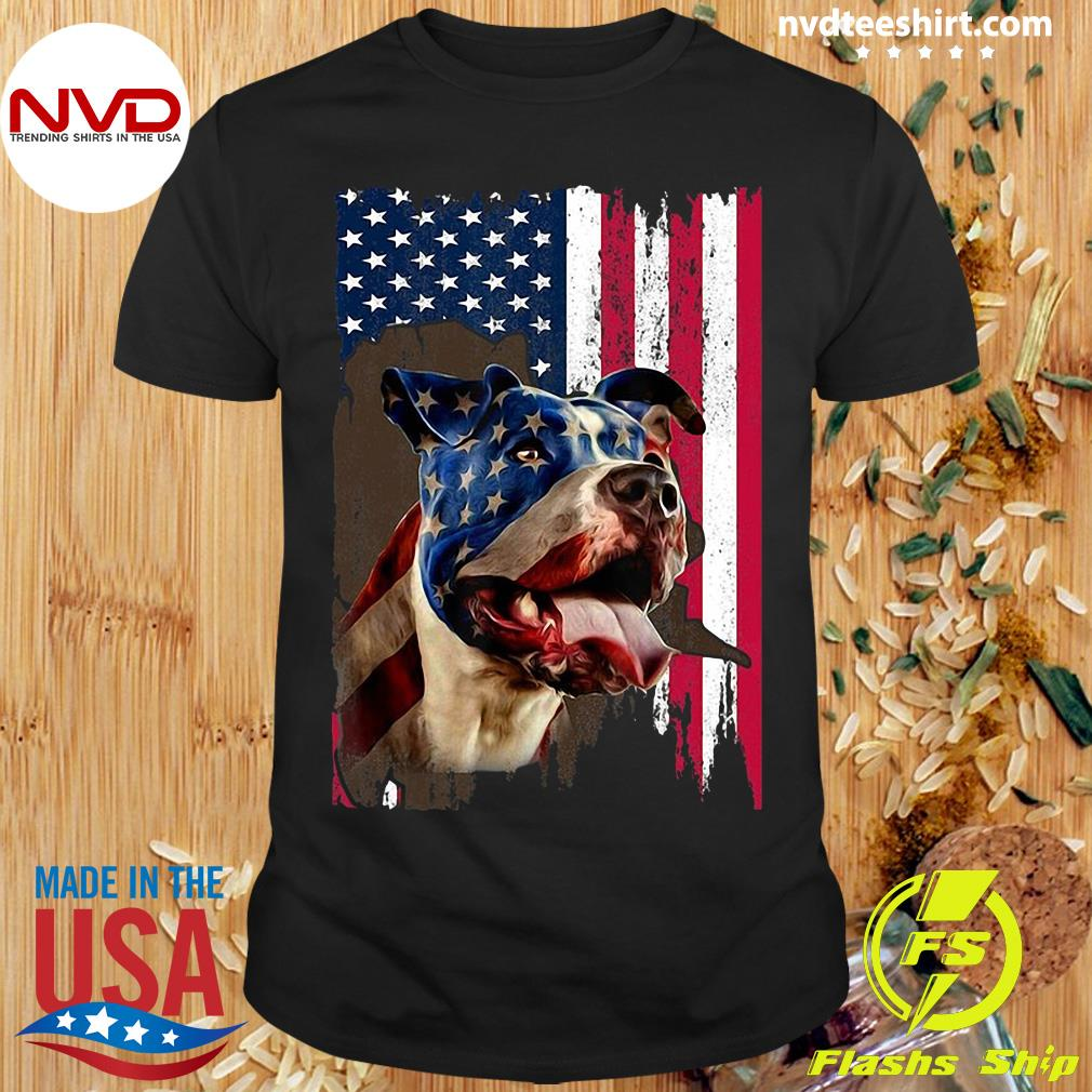 Pitbull American Flag 4th July Independence Day T-shirt
