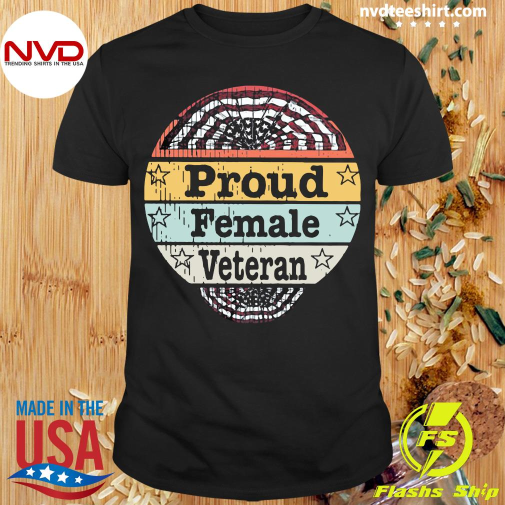 Vintage Proud Female Veteran American Flag T-shirt